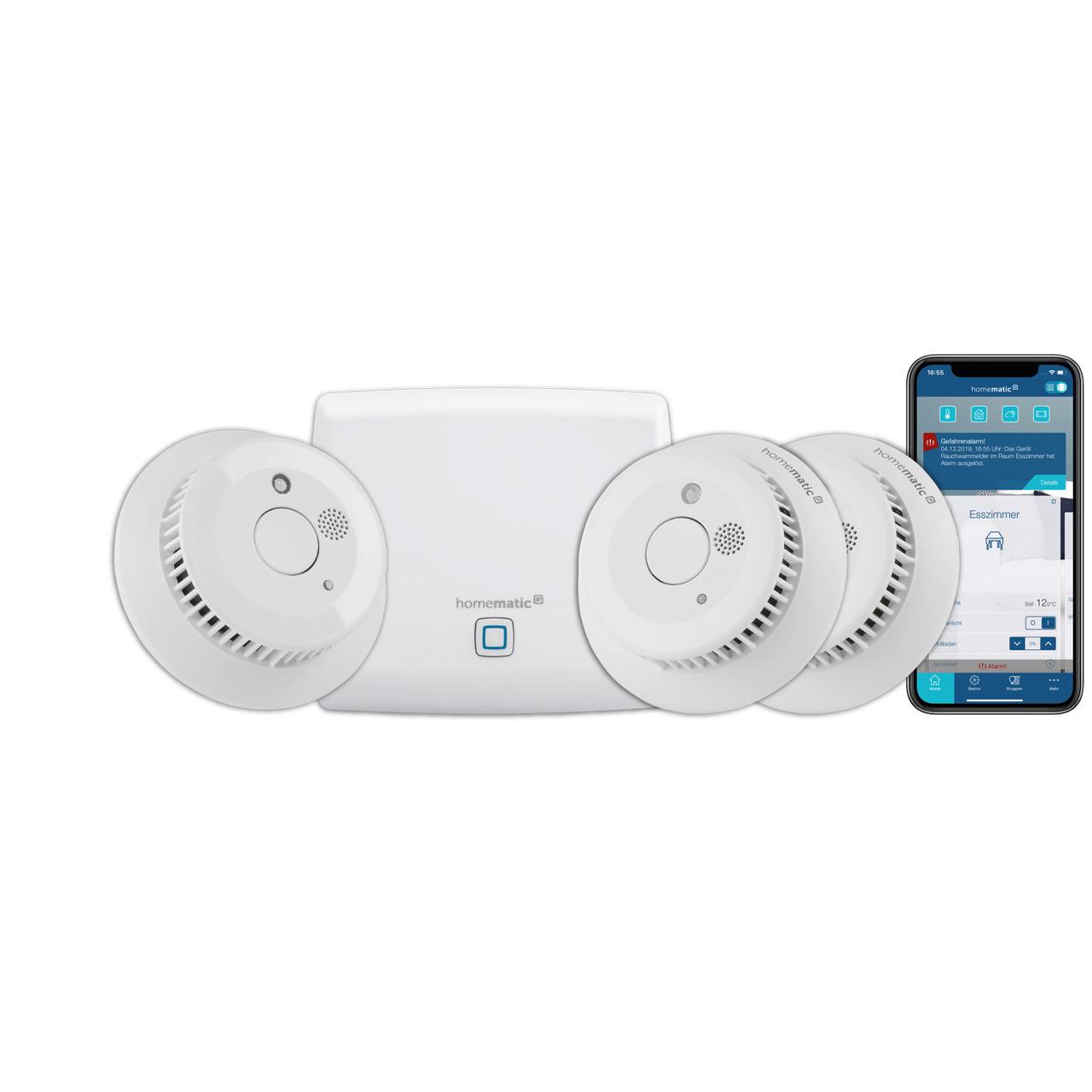 Homematic IP Smart Home Starter Set Rauchmelder mit Access Point und 3 Funk-Rauchmeldern