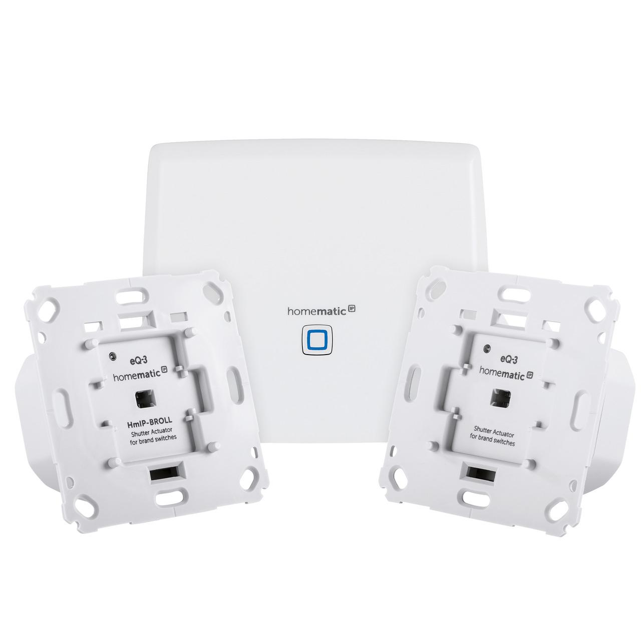 Homematic IP Starter Set mit Smart Home Zentrale CCU3 und 2x Rollladenaktoren für Markenschalter
