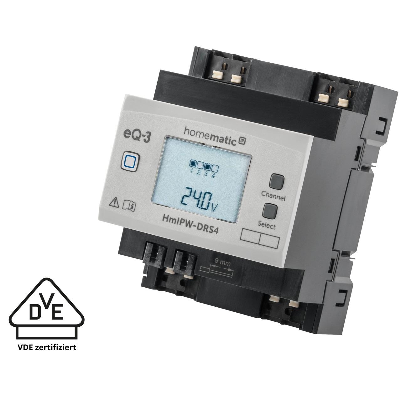 Homematic IP Wired Smart Home 4-fach-Schaltaktor HmIPW-DRS4- VDE zertifiziert