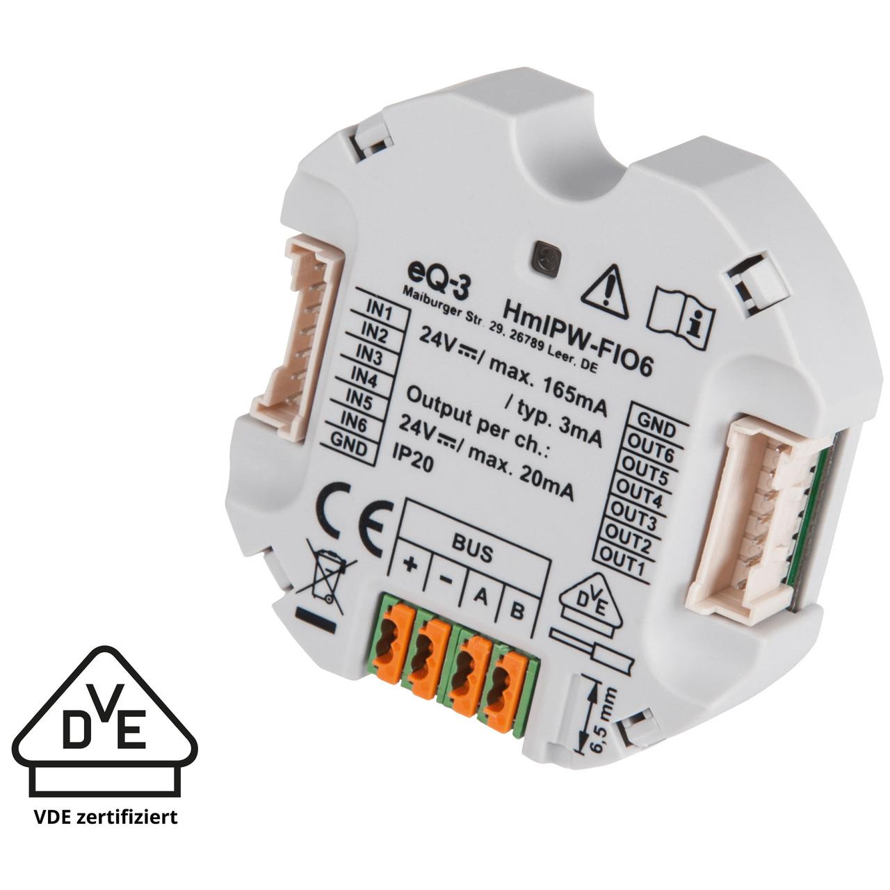 Homematic IP Wired Smart Home 6-fach-Unterputz-IO-Modul HmIPW-FIO6- VDE zertifiziert