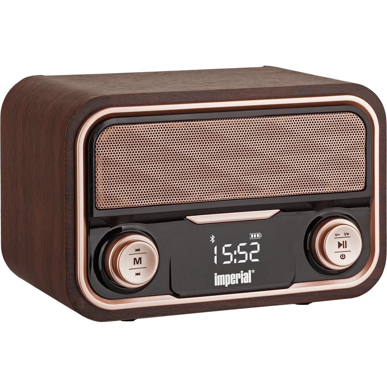 Imperial Nostalgie-Stereo-Lautsprecher - Radio BEATSMAN RETRO- UKW- Bluetooth- Akku