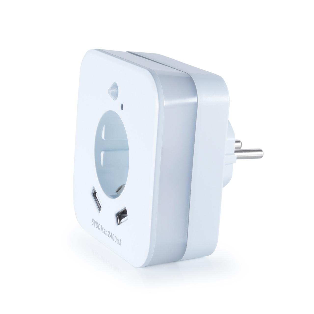 InnTec LED-Nachtlicht mit Bewegungsmelder- Steckdose und 2x USB-Anschlüssen (2-4A)