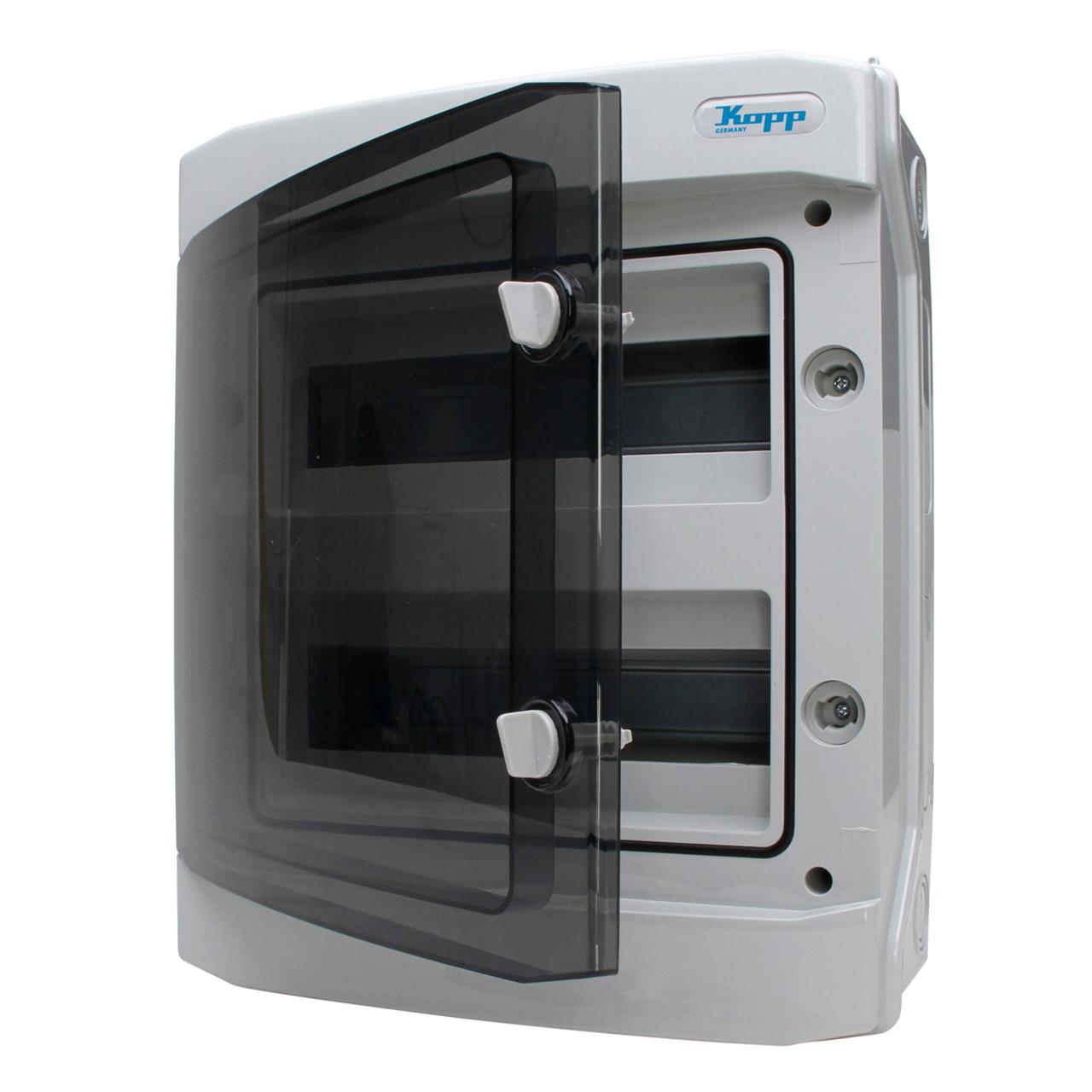 Kopp Feuchtraum-Aufputz-Verteilerkasten mit Tür- IP65- 2-reihig