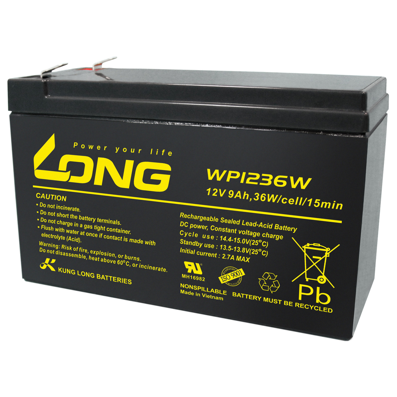 Kung Long Blei-AGM-Akku WP1236W- 12V- 36 W- 9Ah
