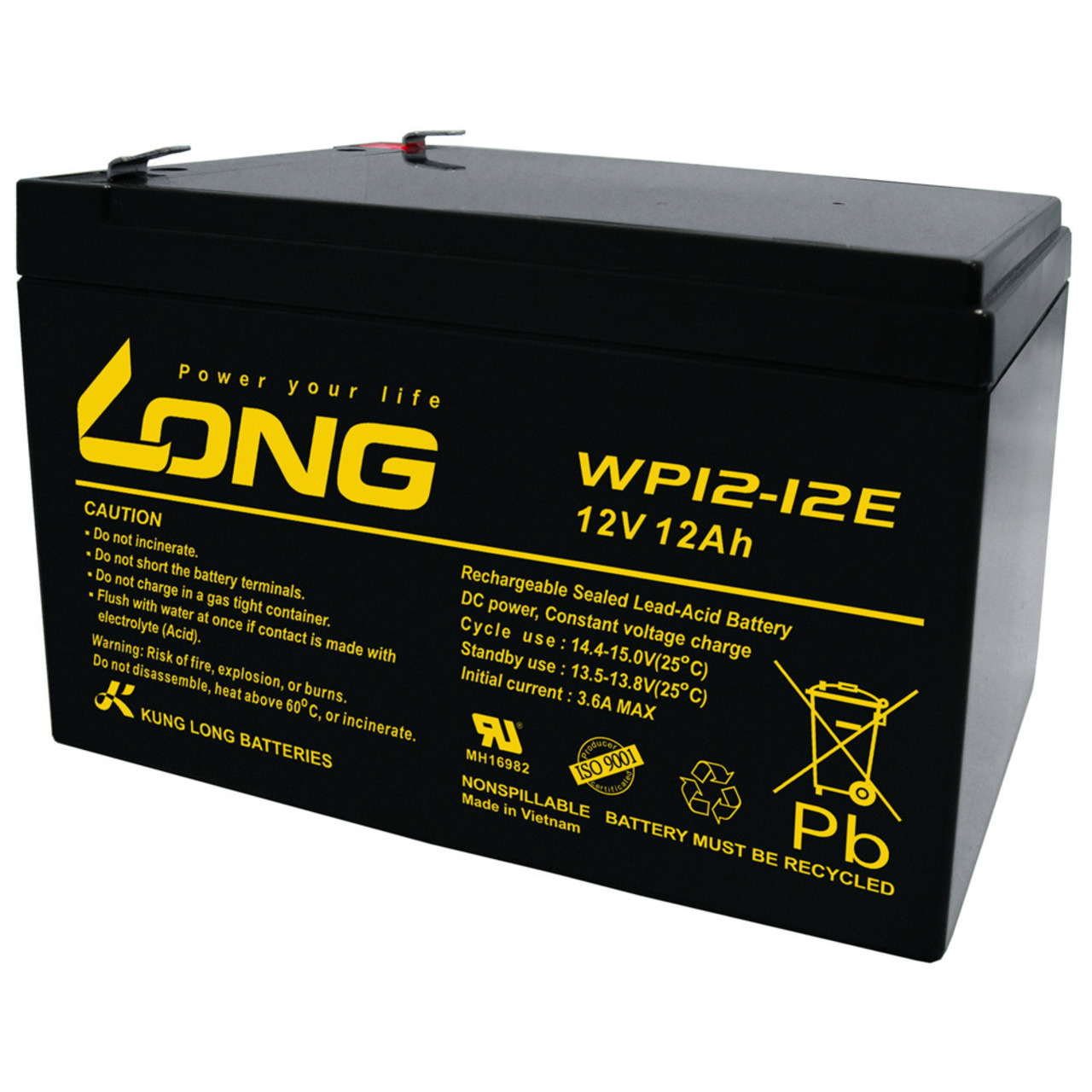 Kung Long Blei-Vlies-Akku WP12-12E- 12 V- 12 Ah- zyklenfest