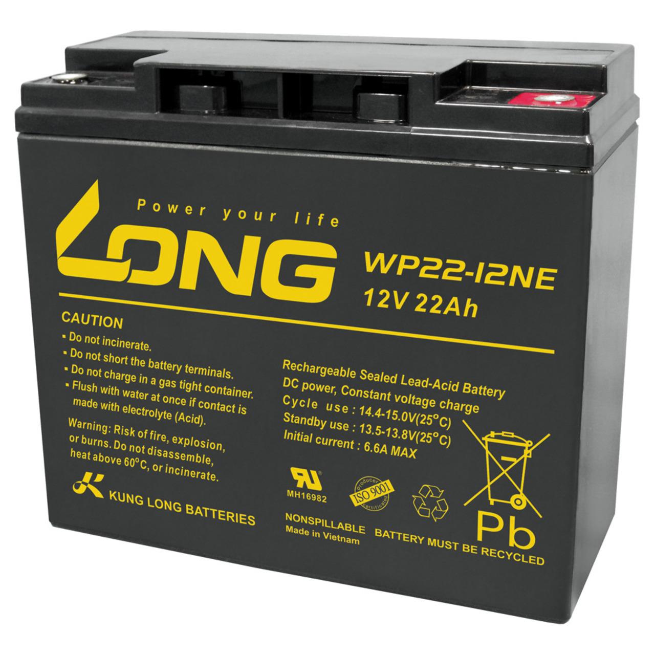 Kung Long Blei-Vlies-Akku WP22-12NE- 12 V- 22 Ah- zyklenfest