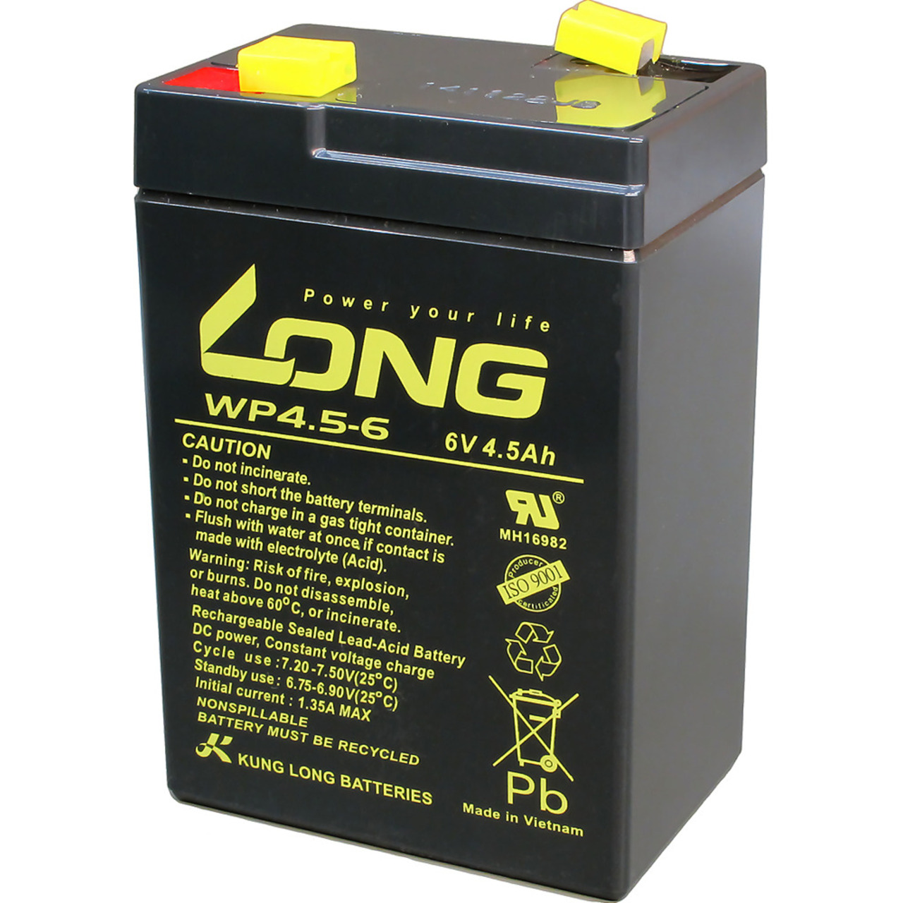 Kung Long Blei-Vlies-Akku WP4-5-6- 6 V- 4-5 Ah
