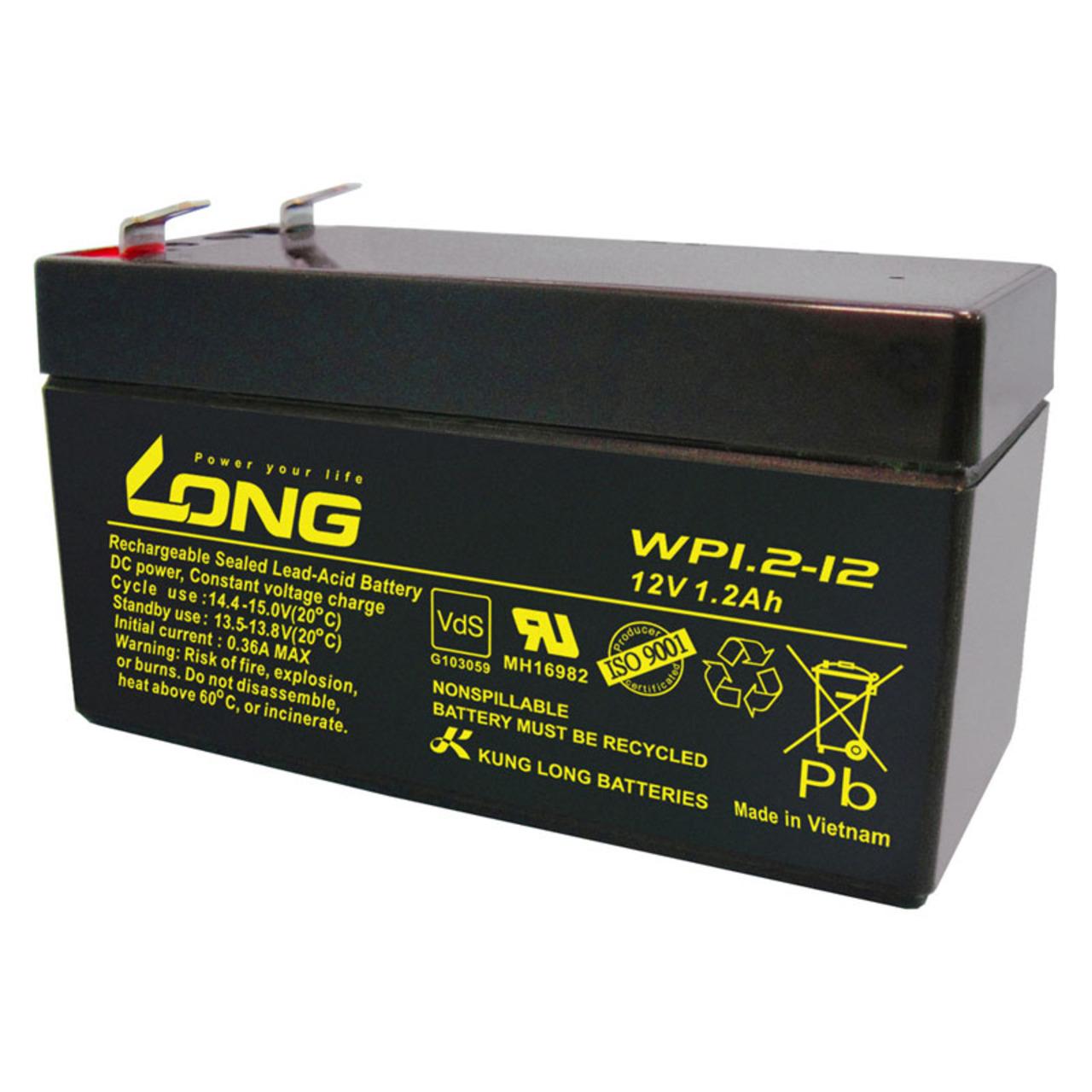 Kung Long VdS-Blei-AGM-Akku WP1-2-12- 12V- 1-2 Ah