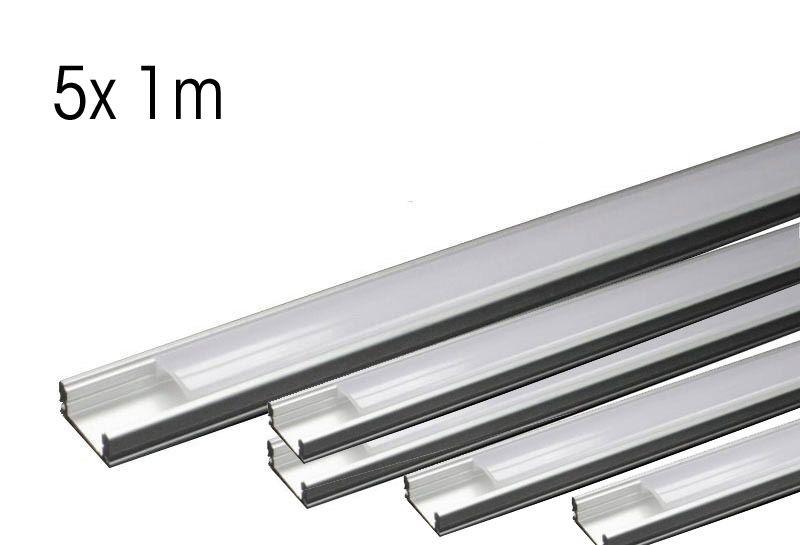 LED Aluminium-PROFIL Slim Line 8mm mit Abdeckung- 5x1m
