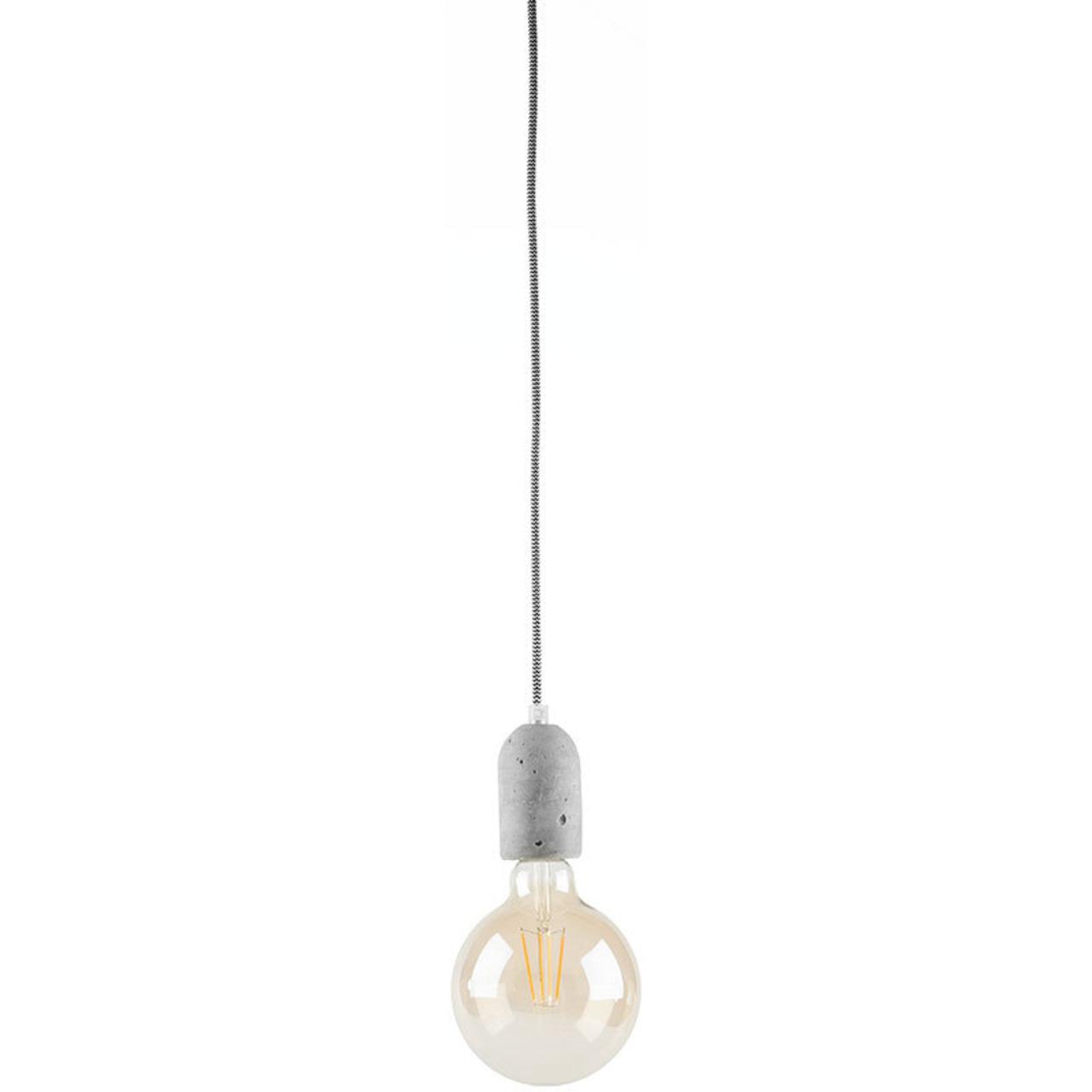 LEDmaxx Beton-Lampenfassung mit Textilkabel (schwarz-weiss) und Baldachin