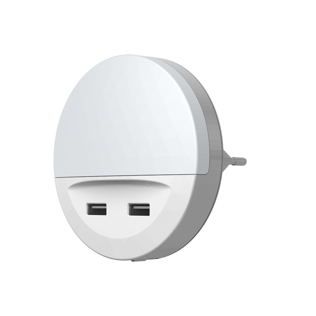 Ledvance Sockel-Nachtlicht LUNETTA USB- mit USB-Ausgängen- Tag-Nachtsensor- IP20