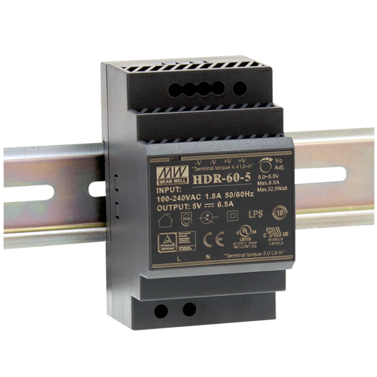 Mean Well Hutschienennetzteil 60 HDR-60-24 24 V- 2-5 A- 60 W- für Smart Home und Haussteuerung