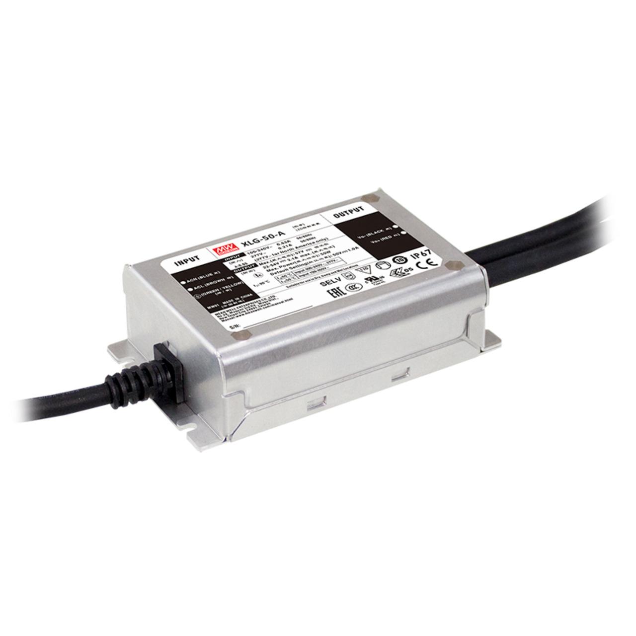 Mean Well Konstantstrom-Netzteil XLG-50-A- 50 W- 1000 mA- 22 - 54 VDC- dimmbar- IP67