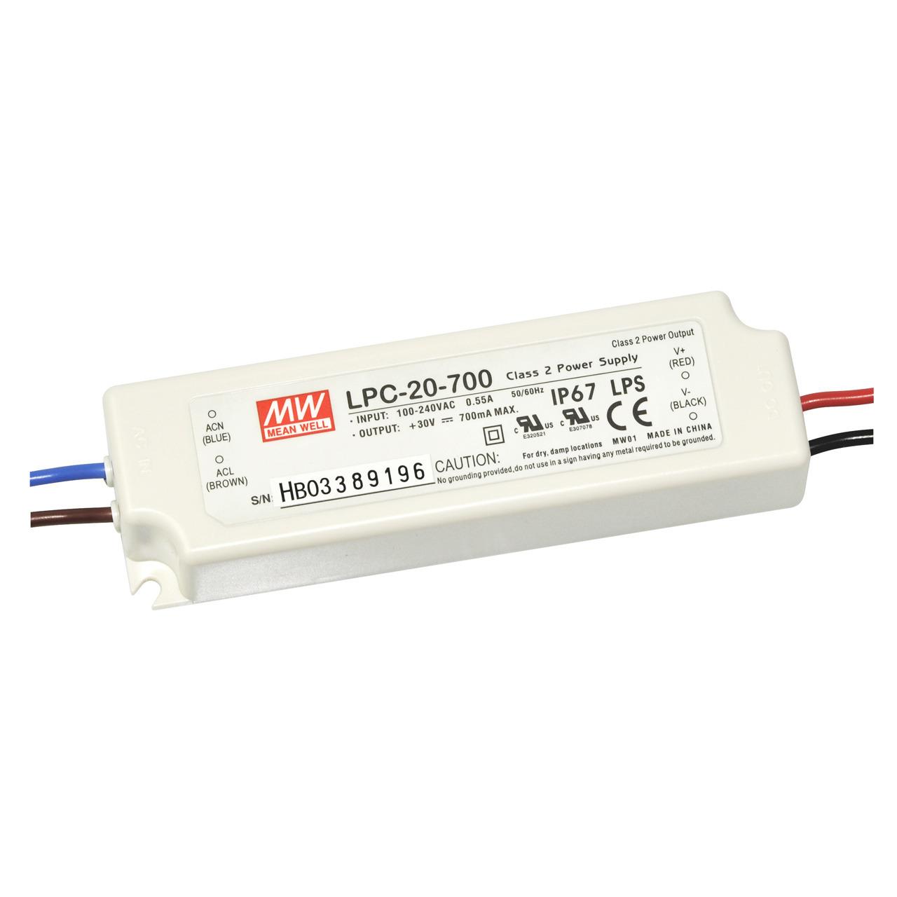 Mean Well LED-Schaltnetzteil LPC-20-700- 90-264VAC- 9-30VDC- 21W- IP67