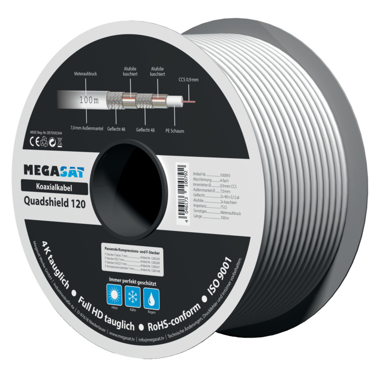 Megasat Koaxialkabel 120- Schirmmass 110 dB- 4-fach abgeschirmt- weiss- 100 m (Spule)