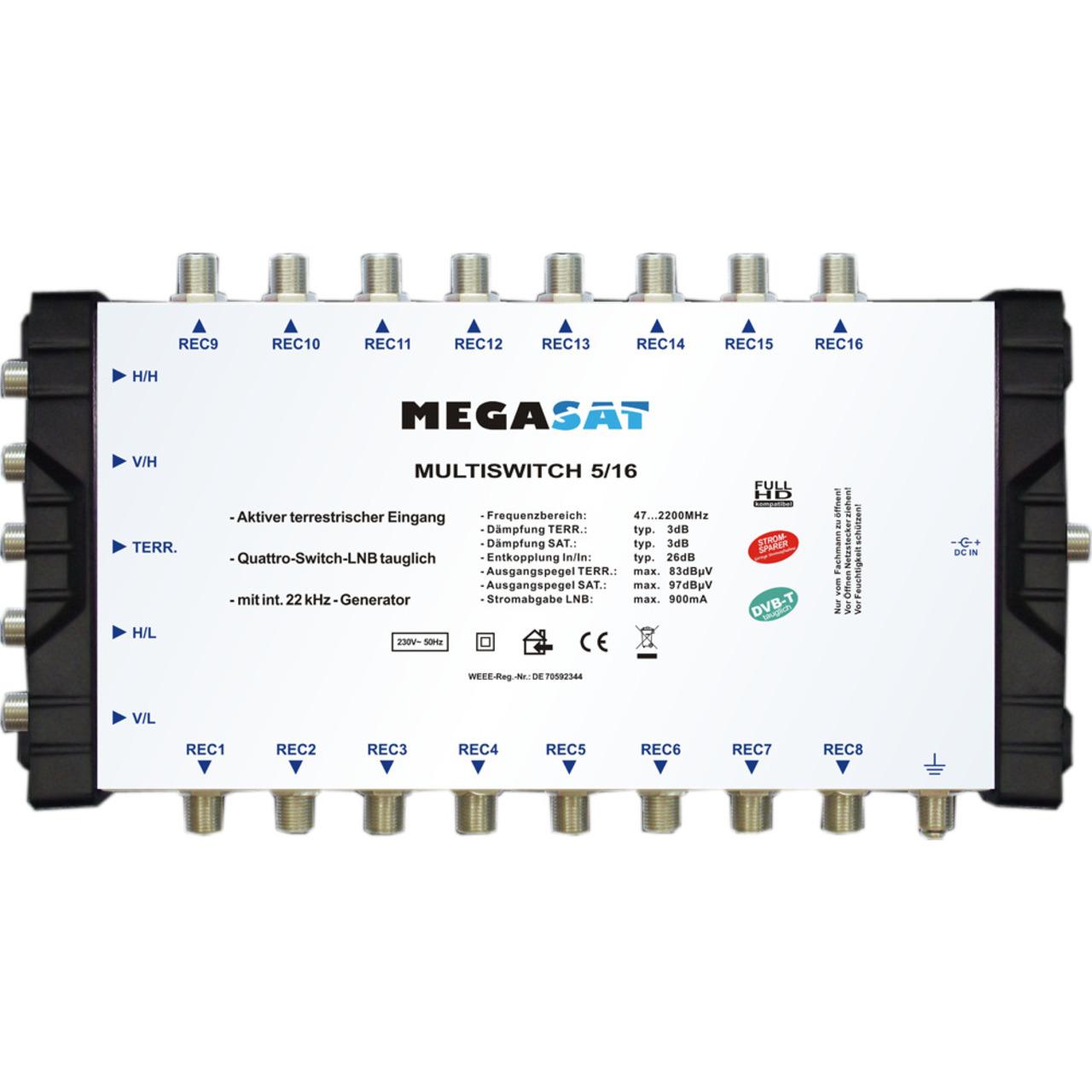Megasat Multischalter 5-16- 1 Satellit- 16 Teilnehmer