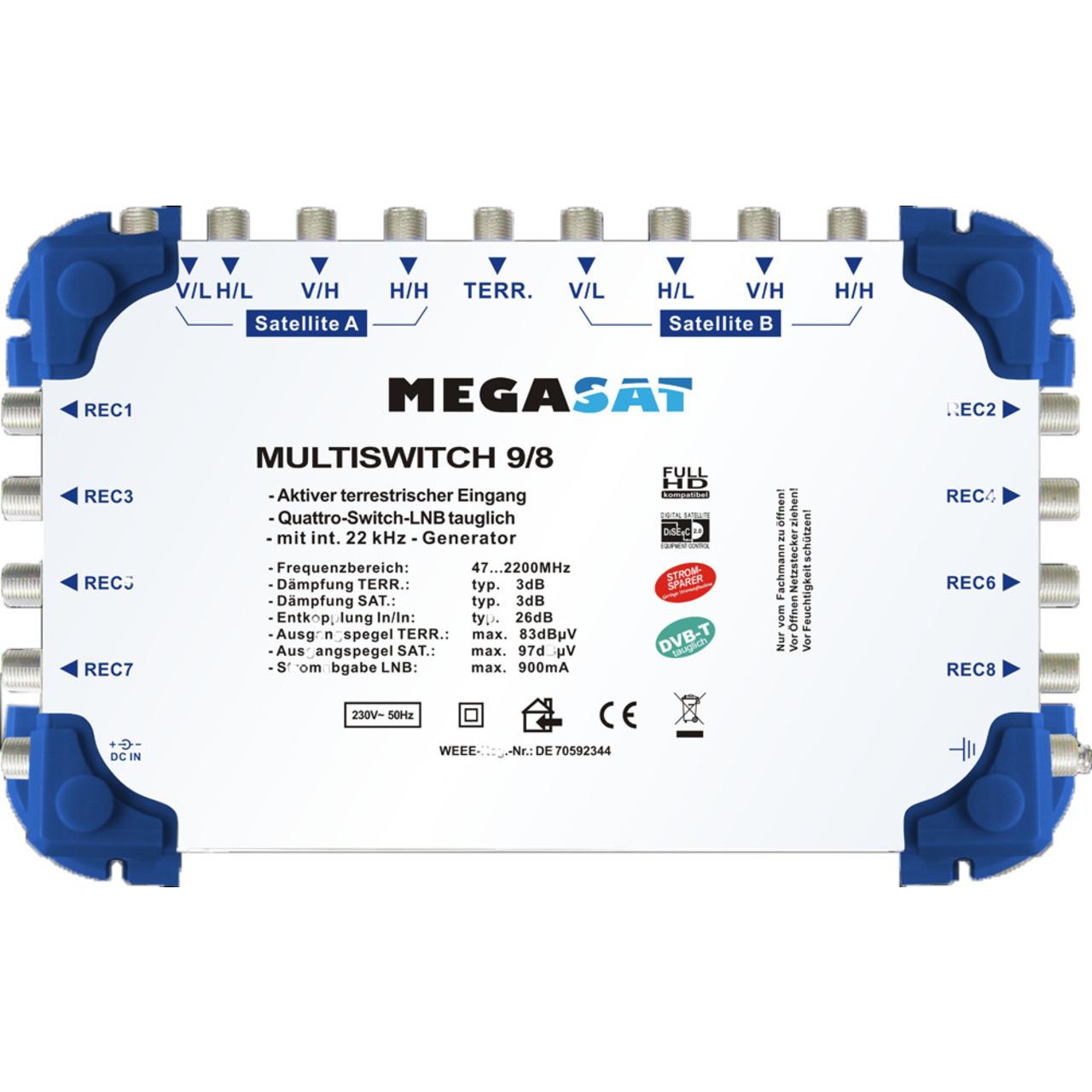 Megasat Multischalter 9-8- 2 Satelliten- 8 Teilnehmer