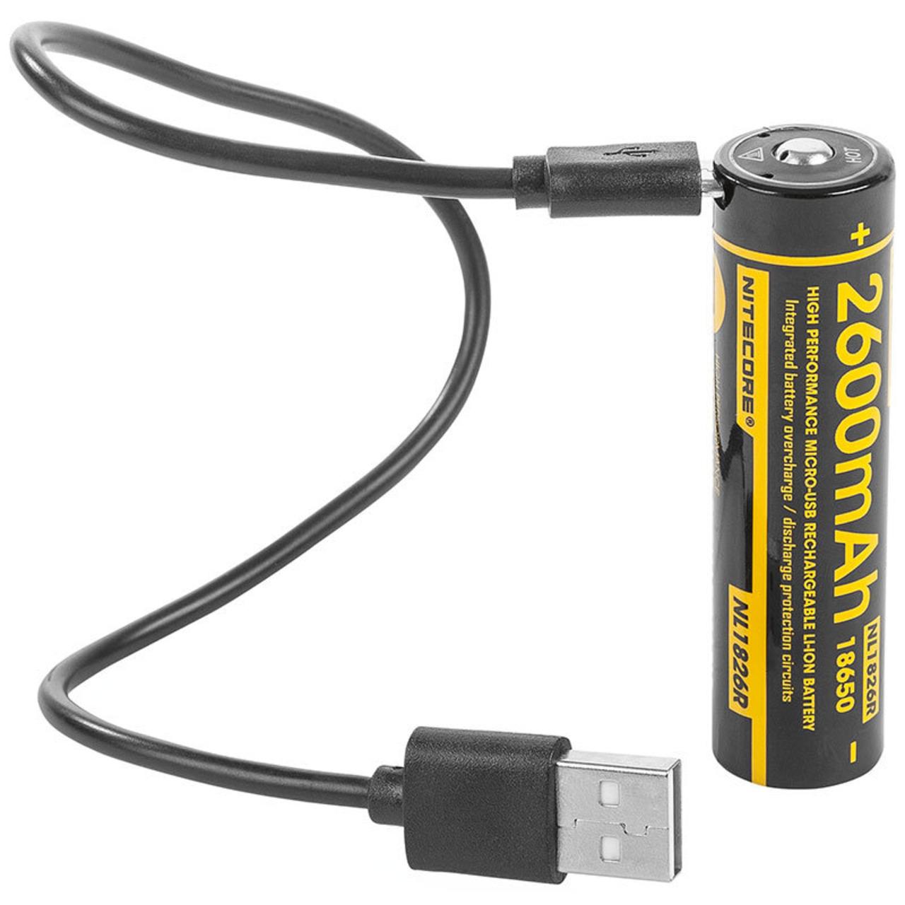 NiteCore Lithium Ion Akku 18650- 2600 mAh mit Micro-USB Ladeanschluss