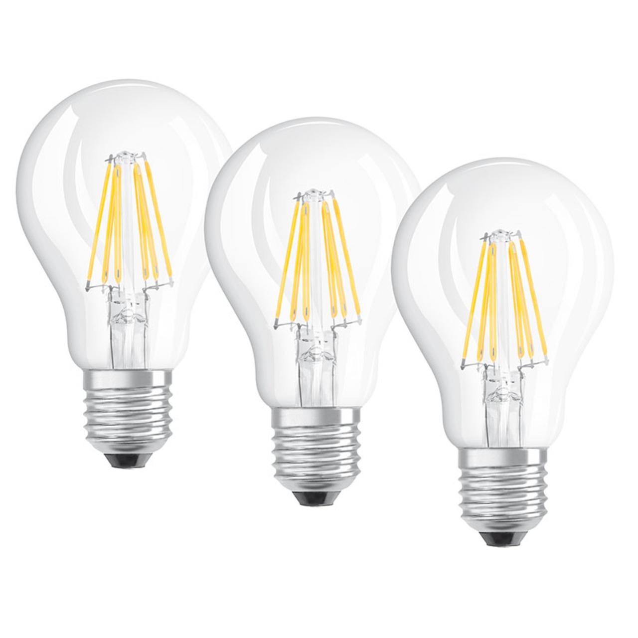 OSRAM 3er Set LED RETRO Glass Bulb 7-5-W-LED-Lampe E27- klar