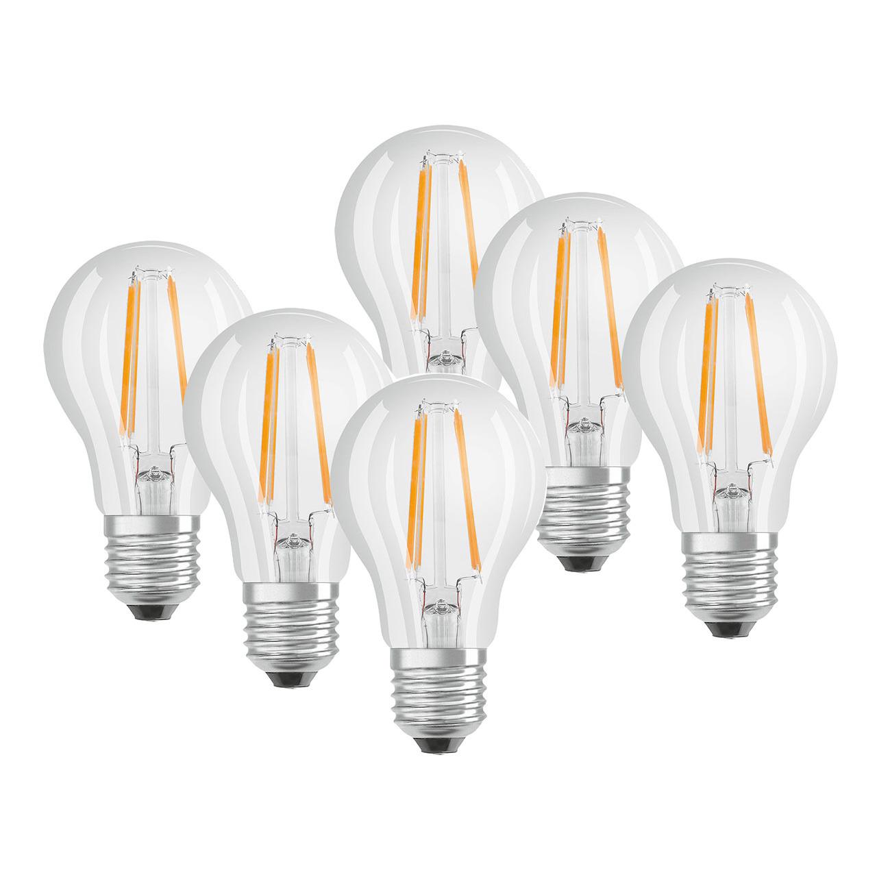 OSRAM 6er Set 7-W-Filament-LED-Lampe E27- warmweiss- klar