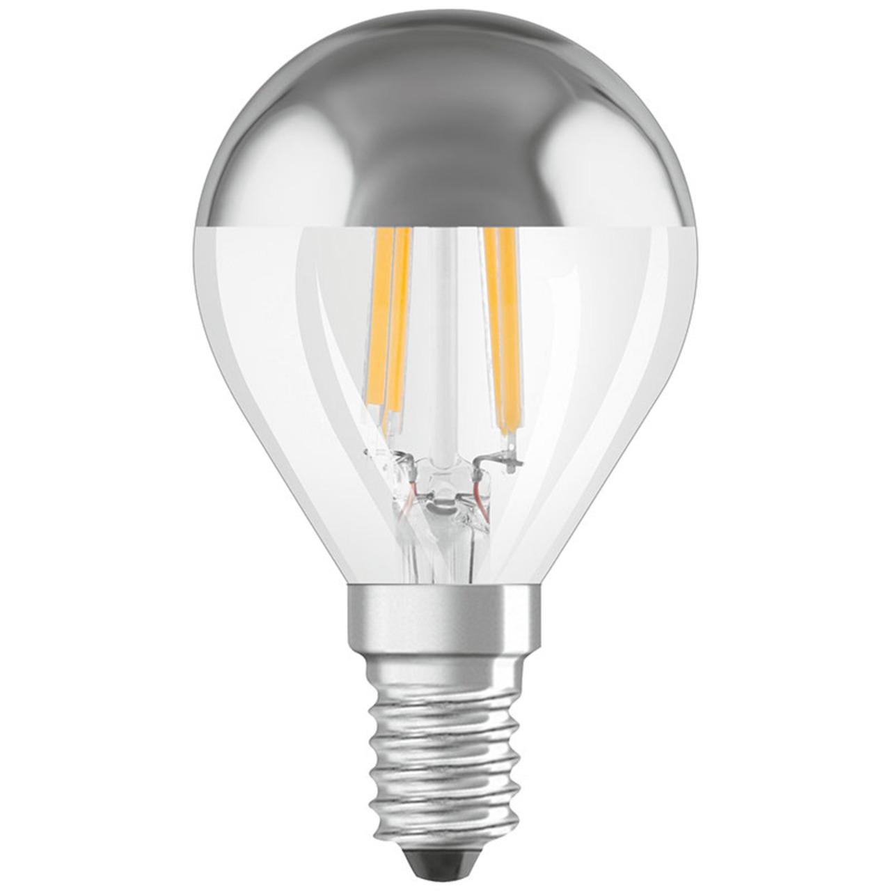 OSRAM LED FILAMENT MIRROR 4-W-LED-Tropfenlampe E14 mit Spiegelkopf- warmweiss