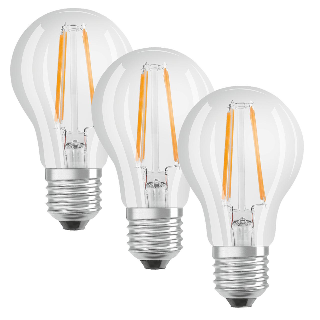 OSRAM LED PROMO 3er Set 7-W-Filament-LED-Lampe E27- warmweiss- klar