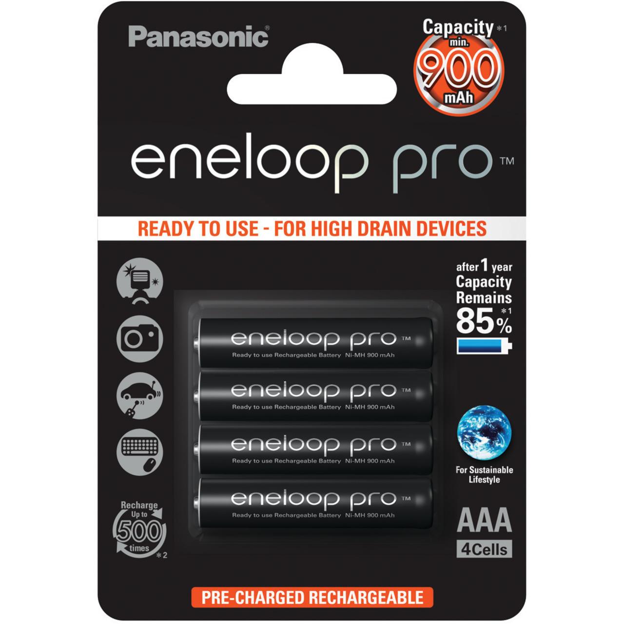 Panasonic eneloop 4er-Pack NiMH-Akkus- Micro 900 mAh