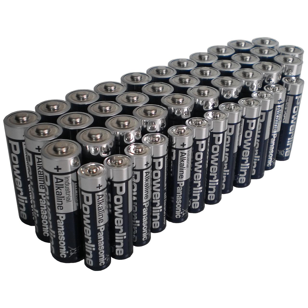 Panasonic Powerline Alkaline Batterien Spar-Pack mit 32 Mignon und 12 Micro-Batterien