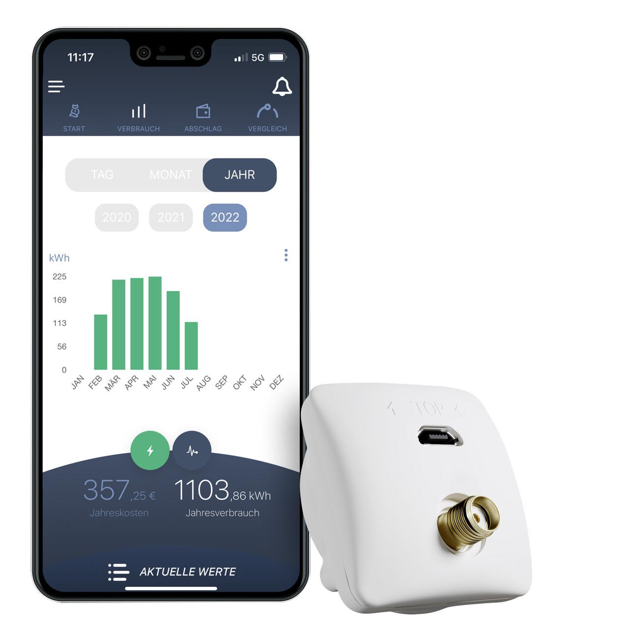 powerfox WLAN-Stromzählerausleser poweropti PA201901- inkl- Smartphone-App