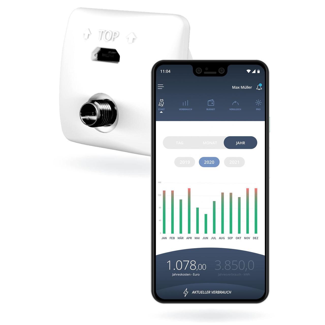 powerfox WLAN-Stromzählerausleser poweropti PA201902 für eBZ-Zähler- inkl- Smartphone-App