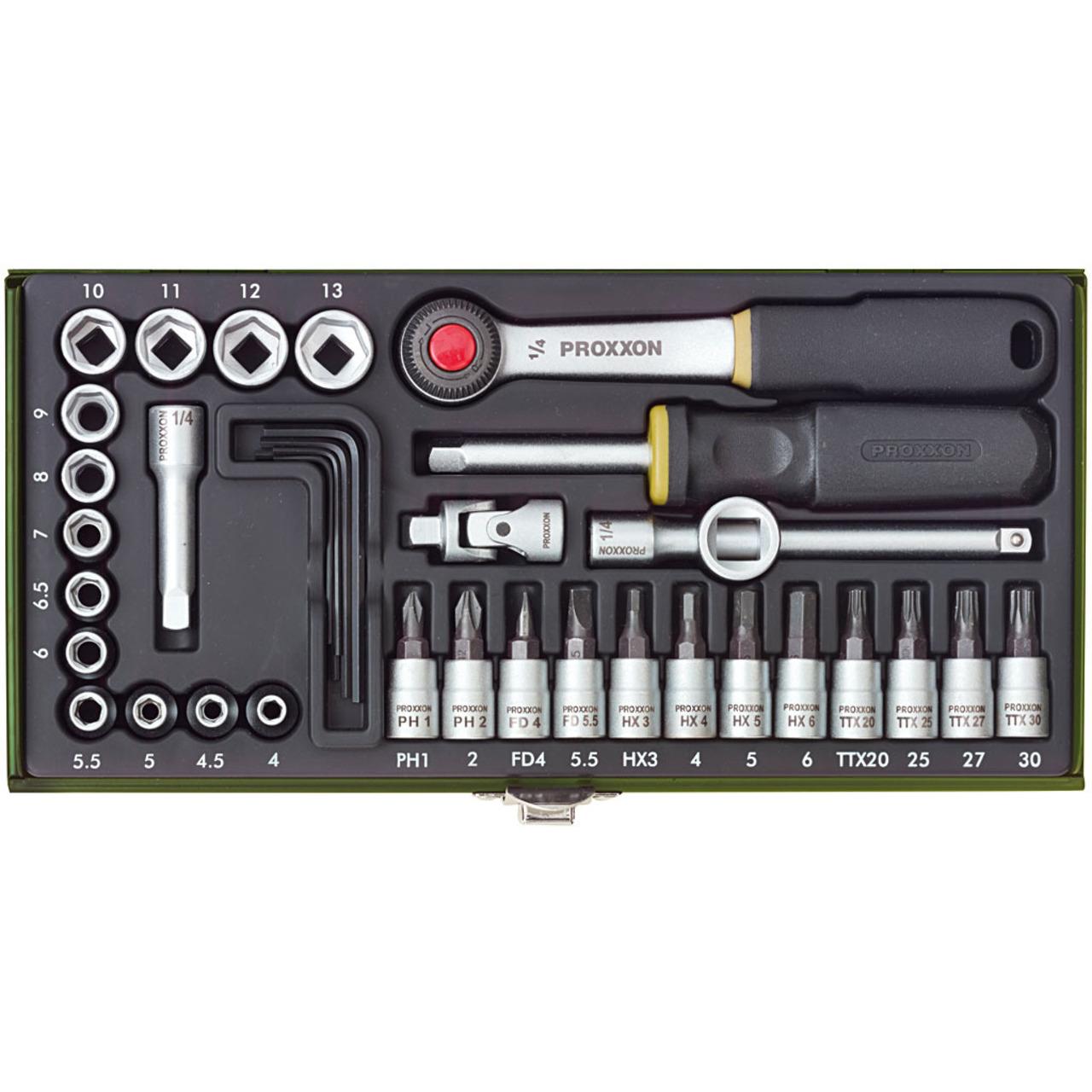 Proxxon 36 tlg- Feinmechaniker-Steckschlüsselsatz 1-4
