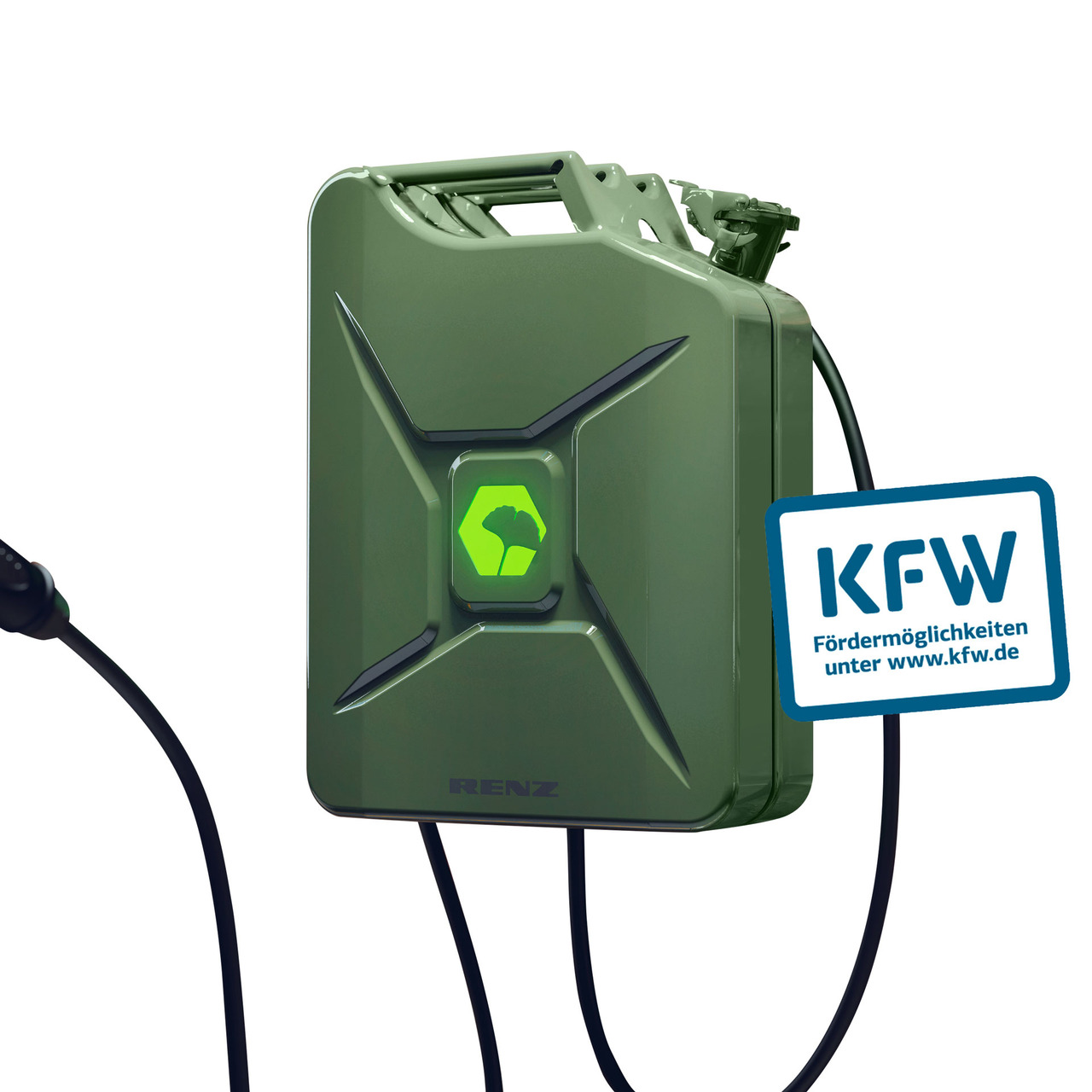 Renz Wallbox POWER2CAR FUEL olive- 3-7 - 11 kW- 5-m-Kabel- förderfähig