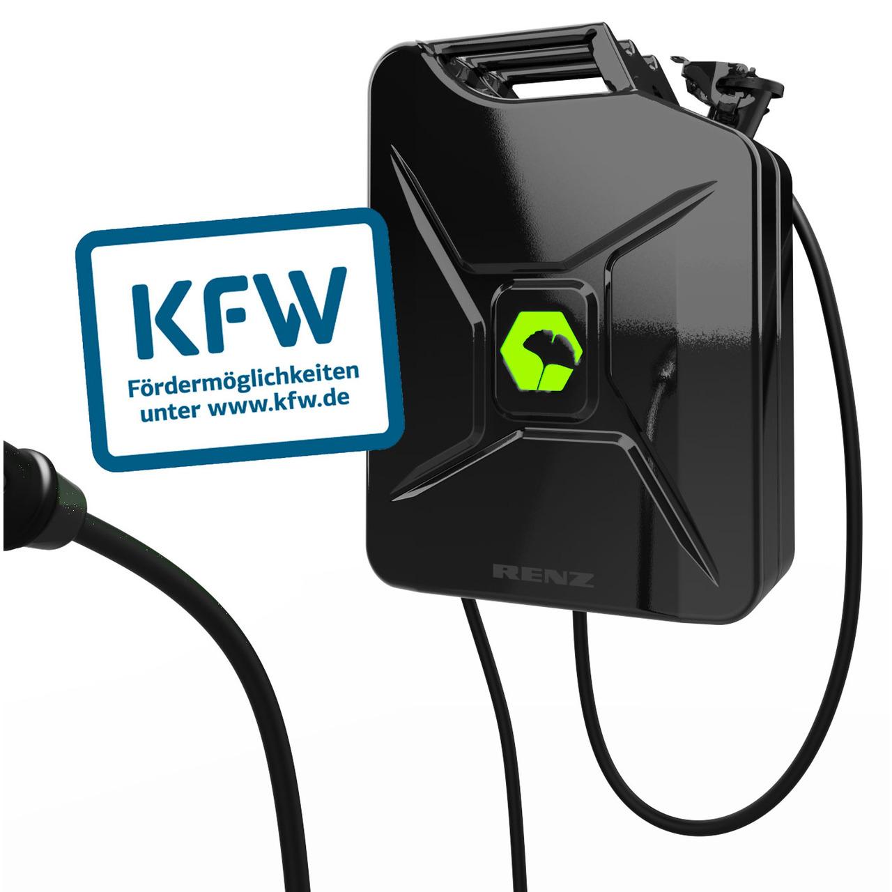 Renz Wallbox POWER2CAR FUEL schwarz- 3-7 - 11 kW-  5-m-Kabel- förderfähig