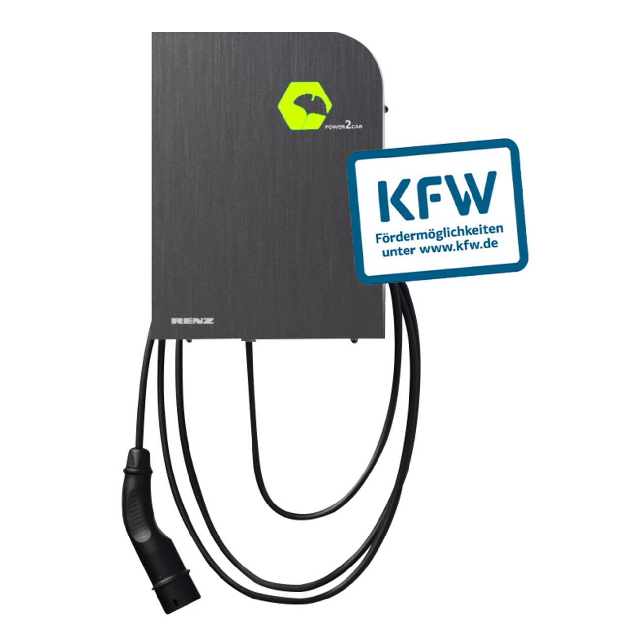 Renz Wallbox POWER2CAR STEEL- 3-7 - 11 kW- 5-m-Kabel- förderfähig