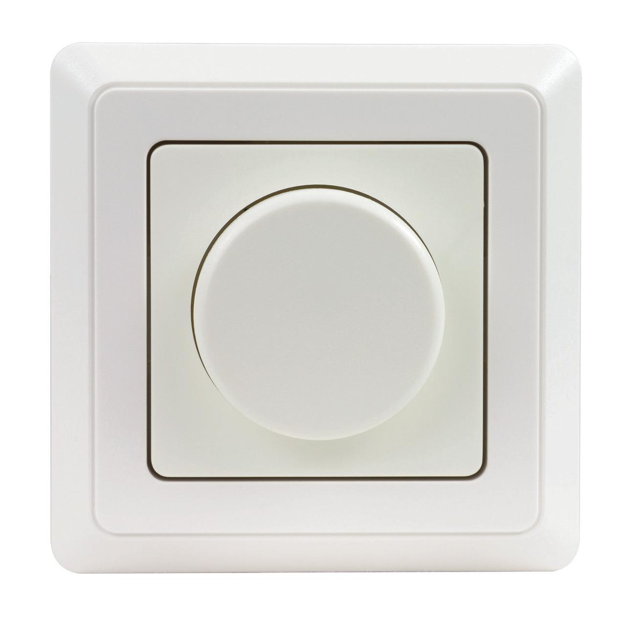 REV LED-Dimmer inkl- Rahmen- Phasenabschnitt- nur 5 W Mindestlast- Einbaumass 50 x 50 mm