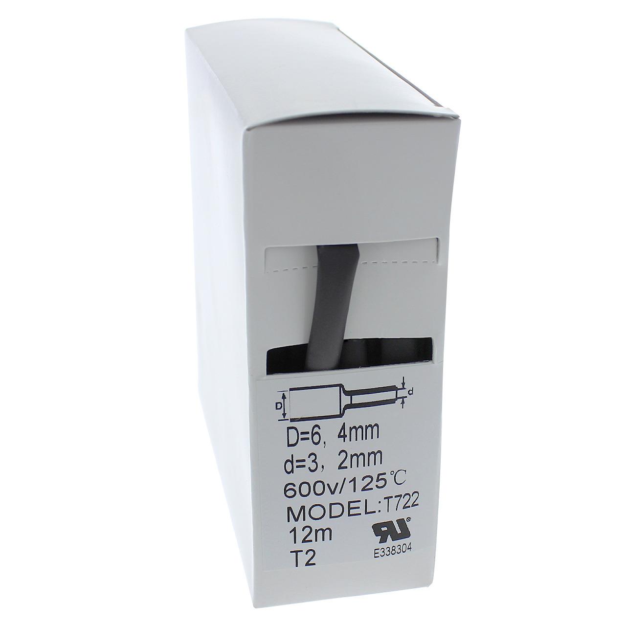 Schrumpfschlauch-Box- schwarz- 12 m- Durchmesser 6-4 mm
