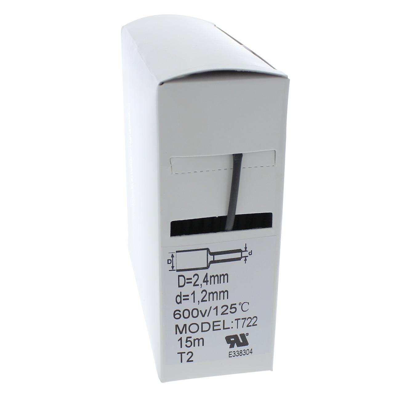 Schrumpfschlauch-Box- schwarz- 15 m- Durchmesser 2-4 mm
