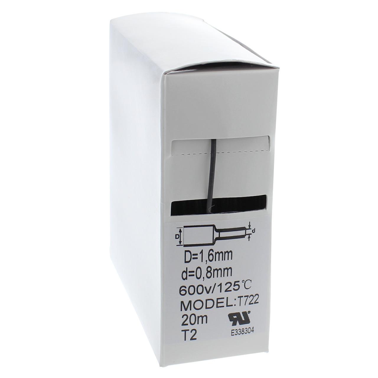 Schrumpfschlauch-Box- schwarz- 20 m- Durchmesser 1-6 mm