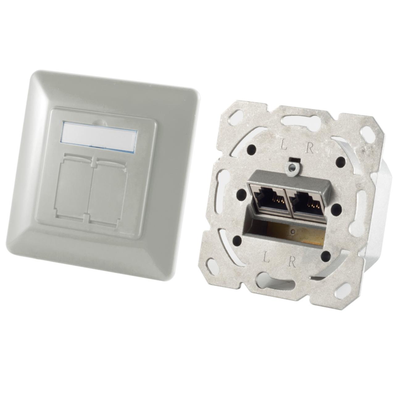 Shiverpeaks Netzwerkdose BASIC-S- Cat- 6A- 2x RJ45-Buchse- silber-grau