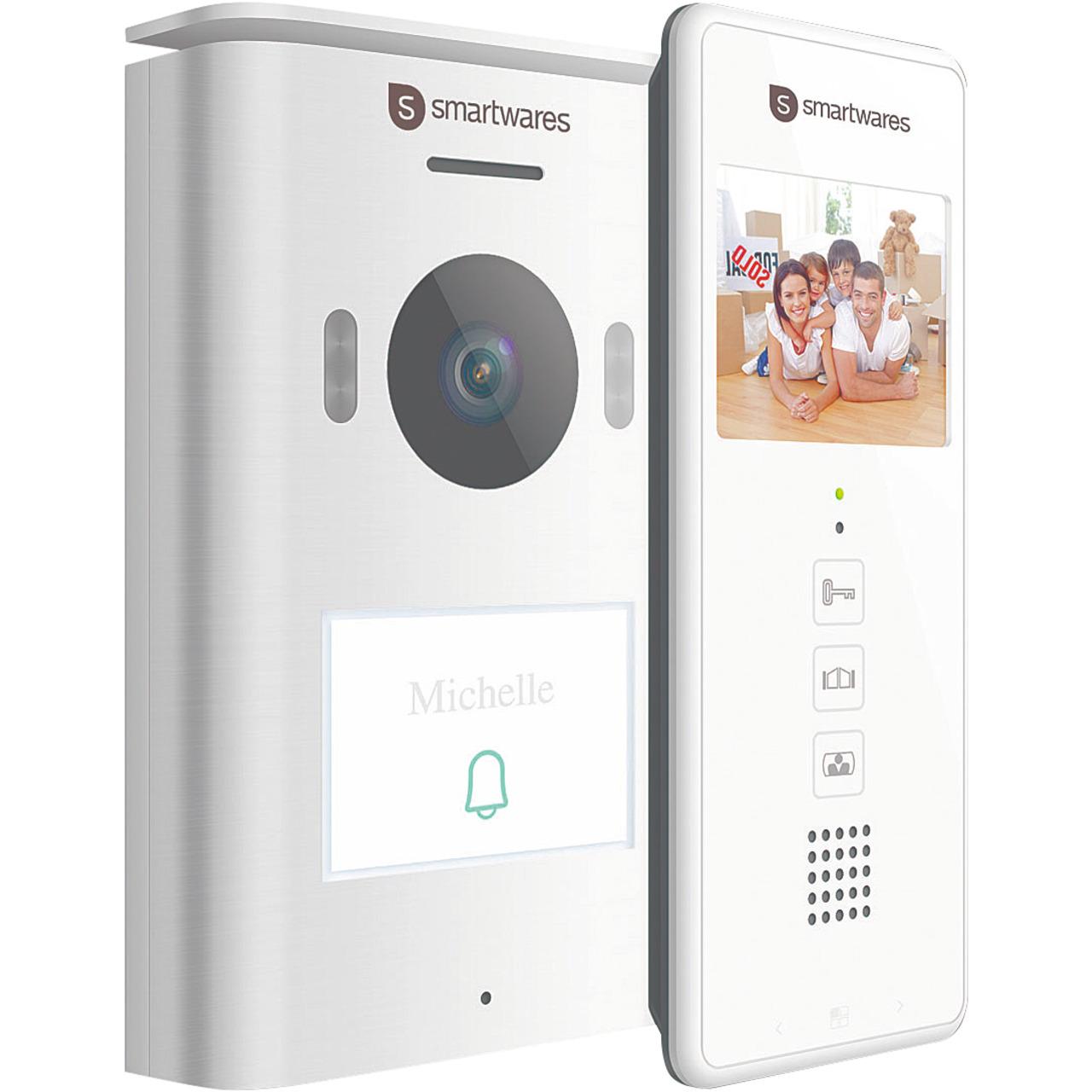 Smartwares 2-Draht-Video-Türsprechanlage für 1-Familienhaus mit 8-89-cm-Bildschirm