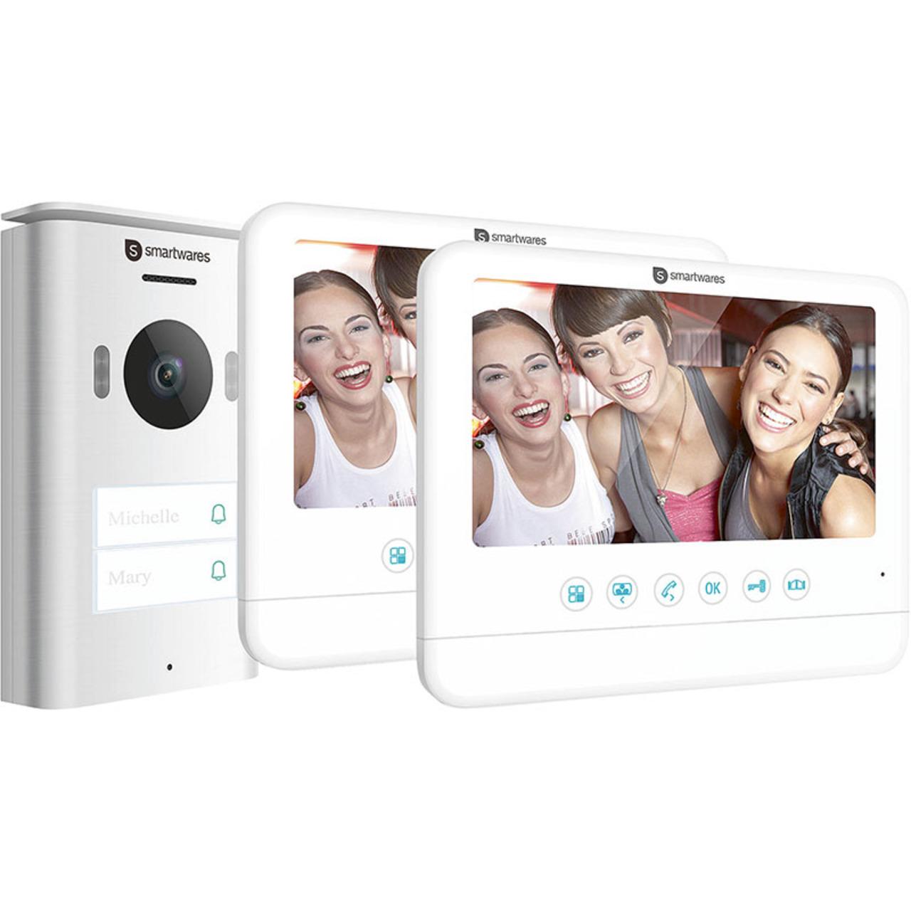 Smartwares 2-Draht-Video-Türsprechanlage für 2-Familienhaus mit 17-78-cm-Bildschirm