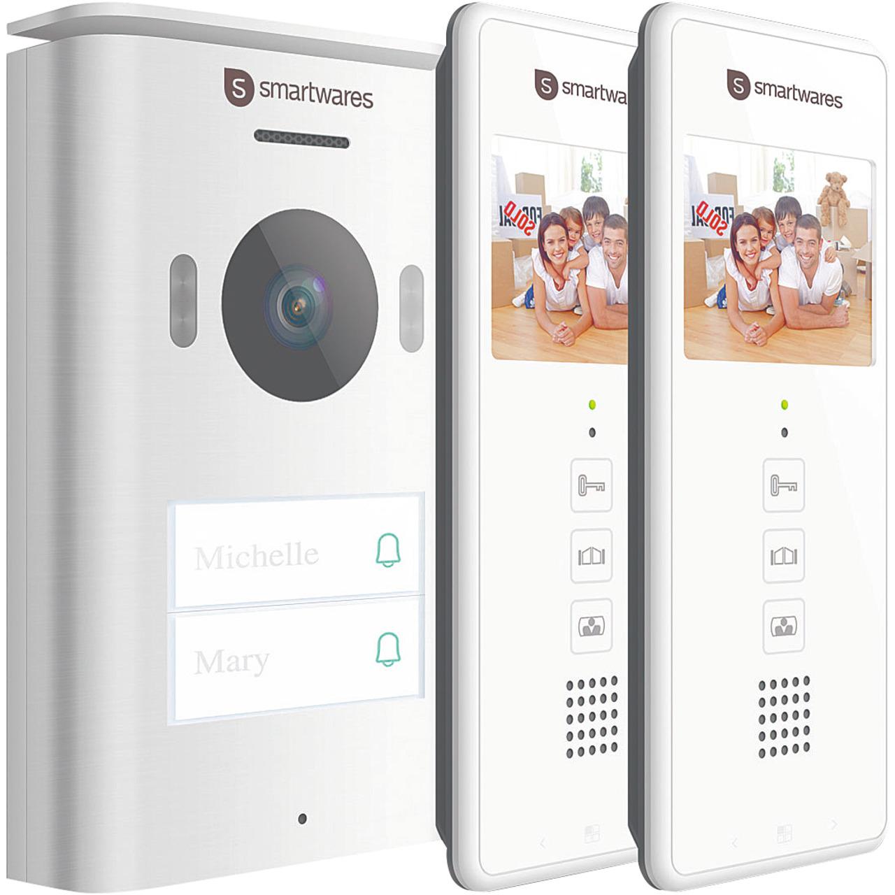 Smartwares 2-Draht-Video-Türsprechanlage für 2-Familienhaus mit 8-89-cm-Bildschirm