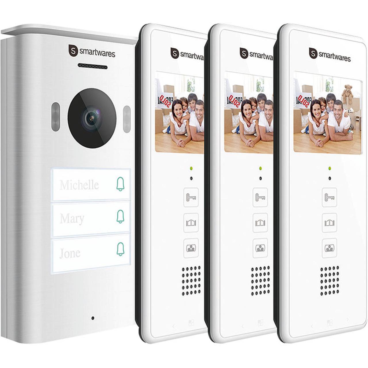 Smartwares 2-Draht-Video-Türsprechanlage für 3-Familienhaus mit 8-89-cm-Bildschirm