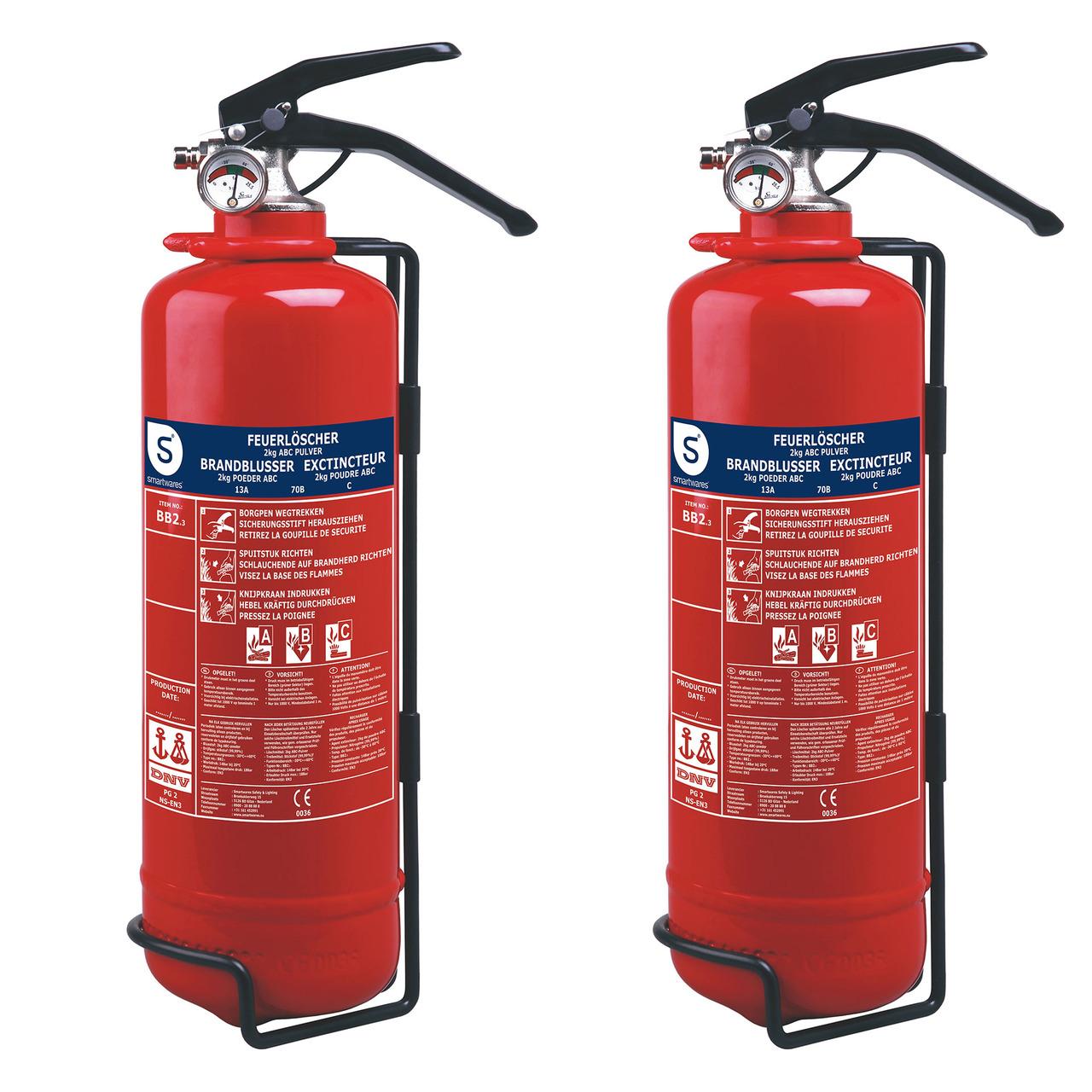 Smartwares 2er-Spar-Set Pulver-Feuerlöscher SW BB2- Brandklasse ABC- je 2 kg