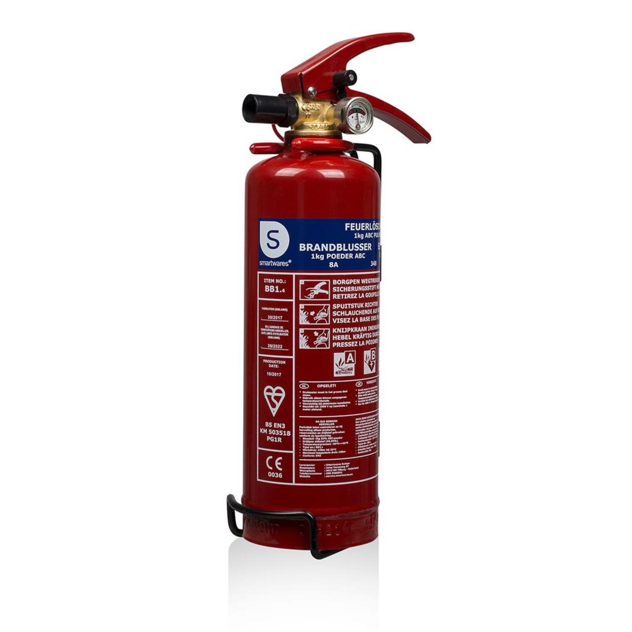 Smartwares Pulver-Feuerlöscher SW BB1- Brandklasse ABC- 1 kg