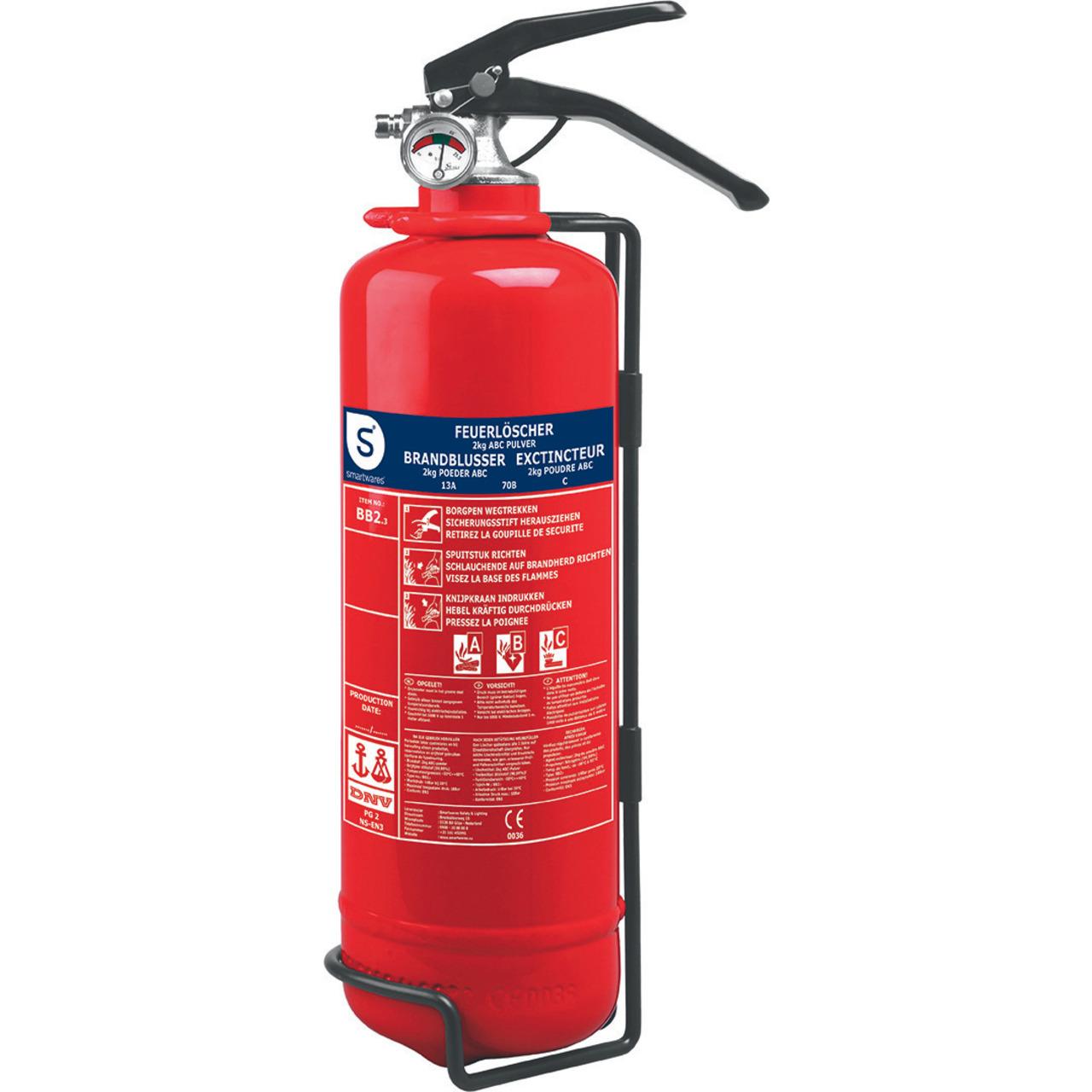 Smartwares Pulver-Feuerlöscher SW BB2- Brandklasse ABC- 2 kg