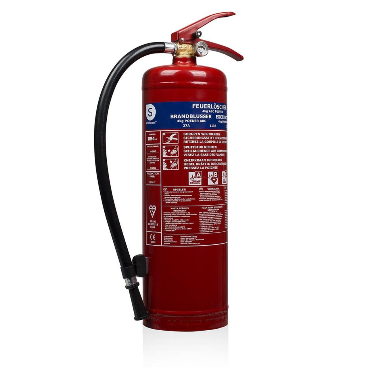 Smartwares Pulver-Feuerlöscher SW BB4- Brandklasse ABC- 4 kg