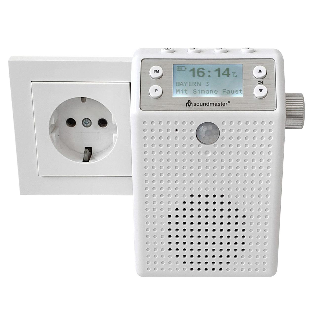 Soundmaster Aufputz-Steckdosenradio DAB60WE- DAB+-UKW- Bluetooth- Akku- IPX4