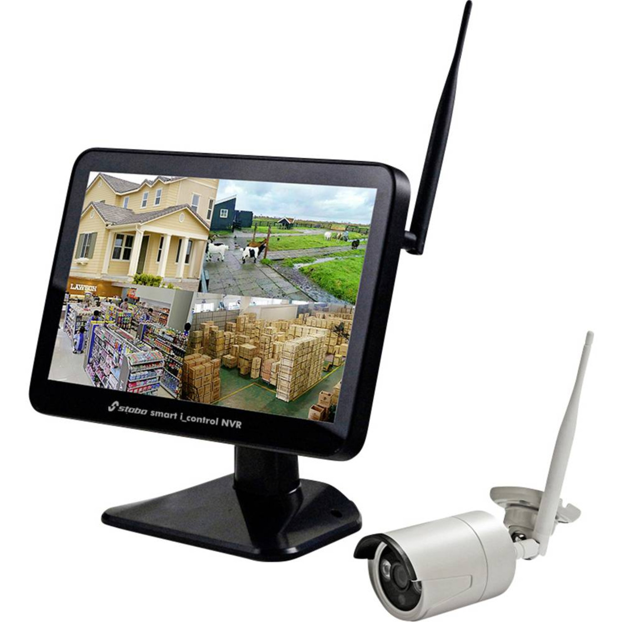 stabo Funk-Kamerasystem smart i-control NVR- 2-4 GHz- App (iOS und Android)- Full-HD (1080p)