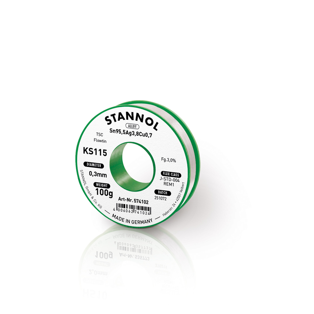 Stannol Flowtin KS 115 TSC Lötzinn  0-3mm- 100g-Spule
